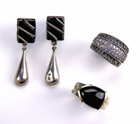 Two Rings And A Pair Of Earrings
