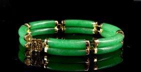 Apple Green Gold And Jadeite Bracelet