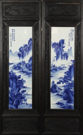 Pair Of Framed Chinese Porcelain Panels