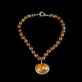 Vintage Amber And Silver Pendant Necklace