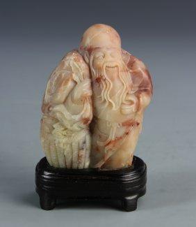 Chinese Shoushan Stone Longevity Figure