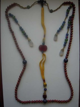 Chinese 19th Court Beads Of Agate, Jade, Lapis Lazul
