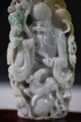 Chinese Jadeite Fu Lu Shou Decoration