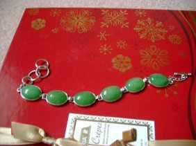 Chinese Natural Green Jade Bracelets