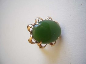 Chinese 14k Gold Green Jade Cabochon Ring