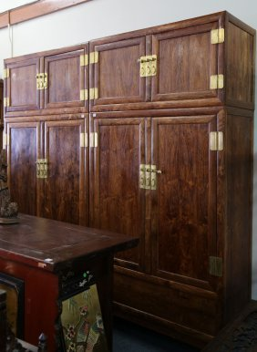 Pair 4pc Chinese Huanghuali Hight Cabinet