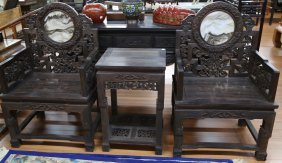 Chinese 3pc Ebony Carved Armchair