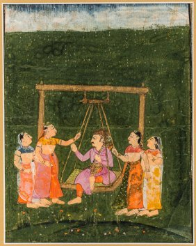 Princely Raja On A Swing And Ladies