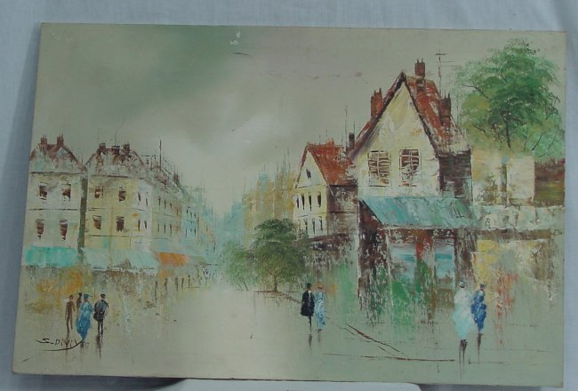 S. Diviy, O/C, European Village Scene : Lot 3601