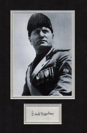 Benito Mussolini Signed Paper.