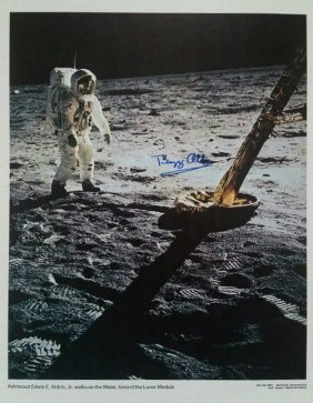 Buzz Aldrin Walks On The Moon Signed Litho.