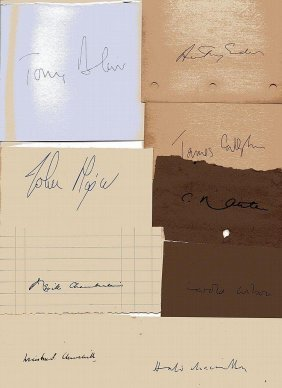 Collection Of British Prime Ministers Signatures.