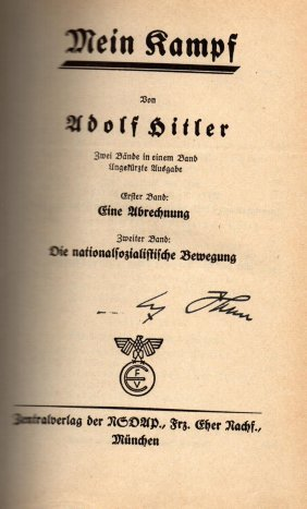 Adolf Hitler Signed Mein Kampf 1939 Edition.