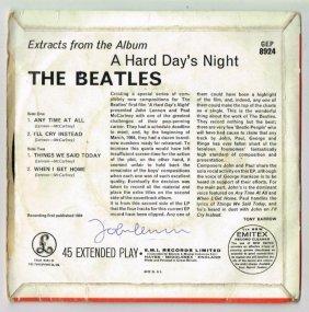 John Lennon Signed 'a Hard Day's Night' Single.