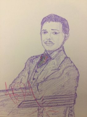 """Michael Jackson Signed Drawing Of """"clark Gable""""."""