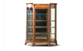 Unusual Stained Oak Veneer Display Cabinet