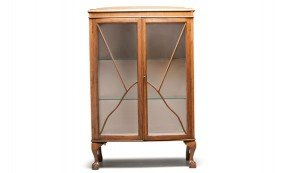 Colonial Revival Bow-Front Oak Vitrine