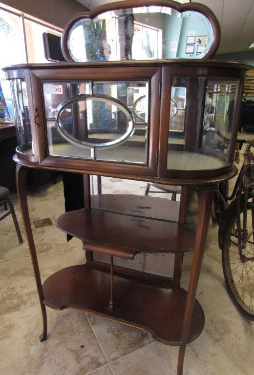 art deco etagere with glass display triple mirror lot 142. Black Bedroom Furniture Sets. Home Design Ideas