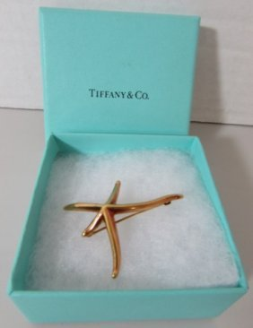 Tiffany & Co 18k Gold Pin Star Fish Brooch Mib