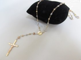14k Gold Rosary Bead Necklace 10.7 Grams