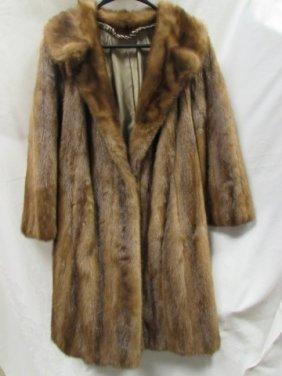 Mink Coat Size 12 Light Brown Color Belted Back