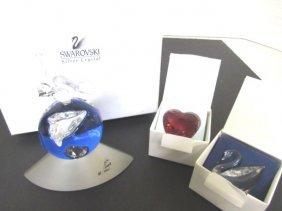 Swarovski Millenium 2000 Globe-red Heart-swan