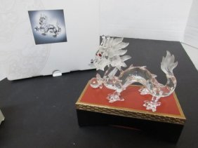 1997 Swarovski Crystal Dragon Nib Cert & Stand
