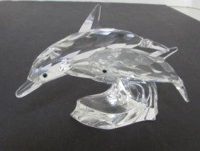 1990 Swarovski Crystal Dolphins Scs Lead Me