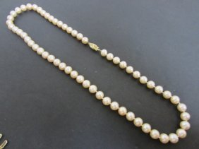 "7.5 Mm 18"" Strand Pink Cultured Pearl Necklace"