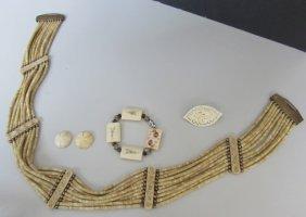 Bone Ivory Jewelry Belt Bracelet Pin Earrings