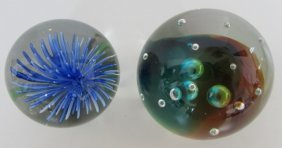 Paperweights Signed Caithness Dichroic & Flower