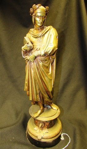 Victorian Bronze Statue Scholar With Books