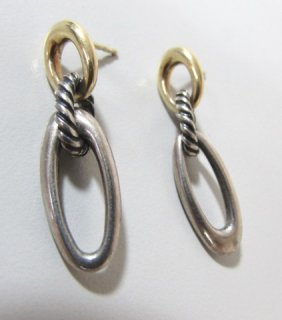 David Yurman Earrings 18k Gold & Sterling Silver Signed