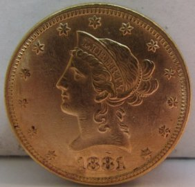 1881 Us $10 Dollar Gold Liberty Eagle Coin