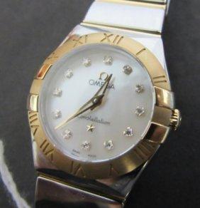Ladies Diamond Omega Constellation 18k Wristwatch