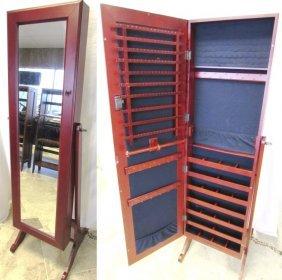 "58"" Full Length Mirror & Huge Jewelry Box Wood W Stand"