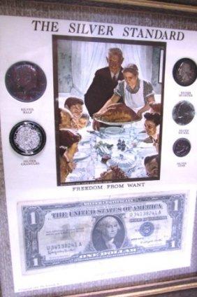 Silver Standard Coin Set Rockwell Freedom Bill Framed