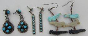 3pair Native American Earrings Sterling Silver