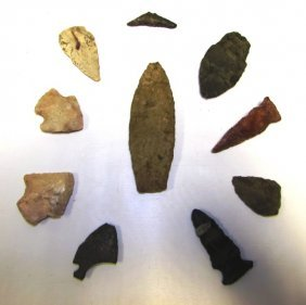 10 Arrowhead Lot Knapped Flint Clovis Point
