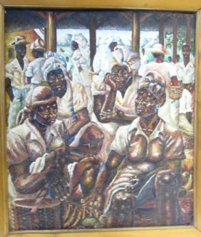 Haitian Oil On Canvas Signed Art Painting 1952