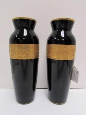 2 Moser Vase Gold Gilt Amethyst Art Glass