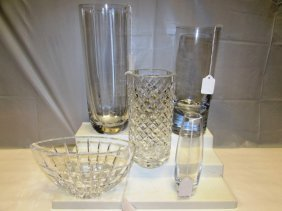 5 Crystal Vases & Bowl. 1 Signed Waterford