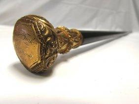 Cane 14k Yellow Rolled Gold Knob Ebony Stick