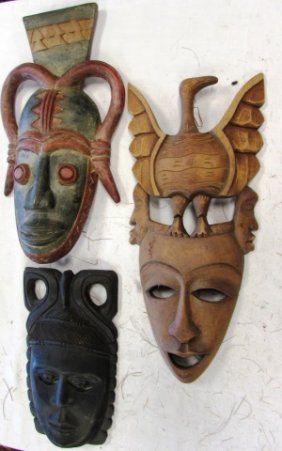 3 African Tribal Masks Carved Wood