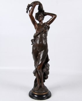 Godet, Bronze Figure Of Partially Clad Woman
