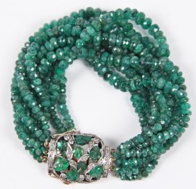 18k Emerald And Diamond Bracelet
