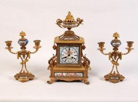 3 Piece Dore Bronze And Sevres Clock Set