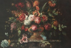 Large Early Dutch Style Oil On Canvas Stillife Painting