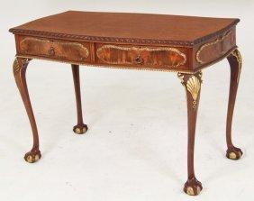 English Serpentine Mahogany Writing Table
