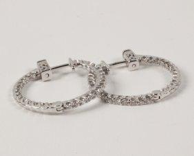 Pair Of 14k White Gold Diamond Hoop Earrings